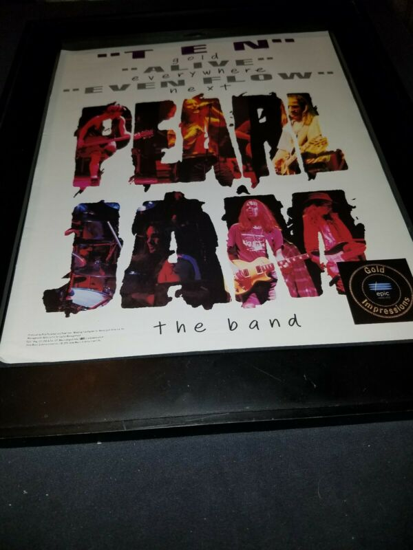 Pearl Jam Ten Rare Original Promo Poster Ad Framed!