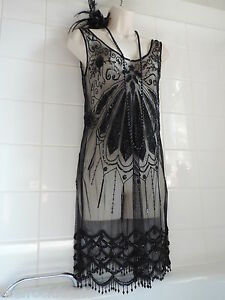 OASIS 12 Vintage 1920's Deco Bead Sequin Flapper Charleston Gatsby Fringe Dress