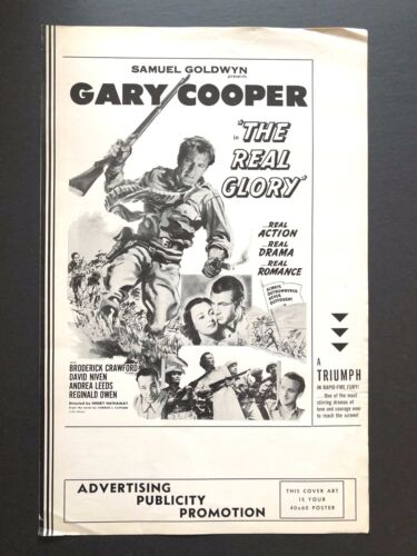 """The Real Glory Pressbook (Gary Cooper, 1939) - 4 Pages - 11"""" x 17""""  EX"""