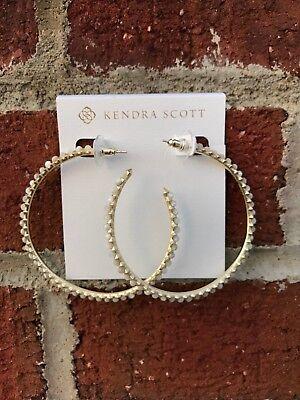 NWT Kendra Scott Birdie Hoop Earrings in Ivory Pearl/Gold