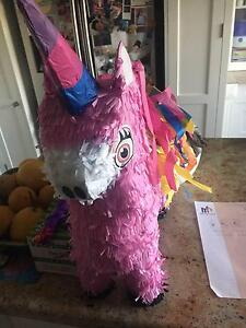 Unicorn (filled) pinata with stick and additional lollies and toy Carlton Kogarah Area Preview