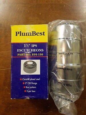5 Pcs: Deep Escutcheon 1-1/2 OD, Chrome Plated, Plumb Best Jones Stephens Corp