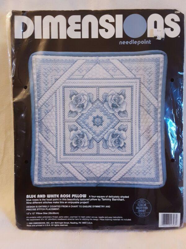 "Dimensions Blue & White Rose Pillow 12"" x 12"" Needlepoint Kit #2398"