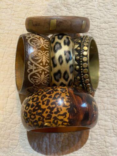 Vintage Wood Metal Bangle Bracelets