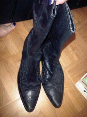 Très jolies bottes santiags noires cuir genoux 39 bon état