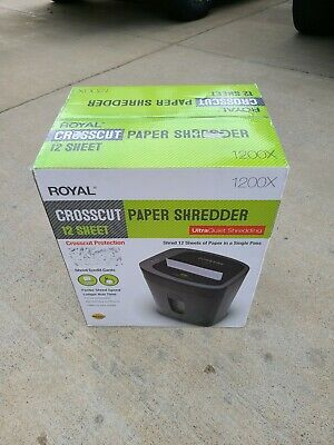 Royal 1200x Paper Shredder 12 Sheet Capacity Ultra Quiet New - Freeshipping