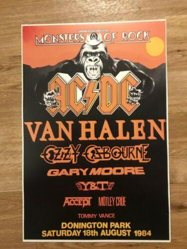 1984 Monsters of Rock AC/DC Van Halen Ozzy Osbourne Cardstock Concert Poster