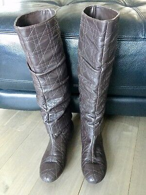 CHRISTIAN DIOR Lambskin Cannage Knee High Boot, Size 37.5
