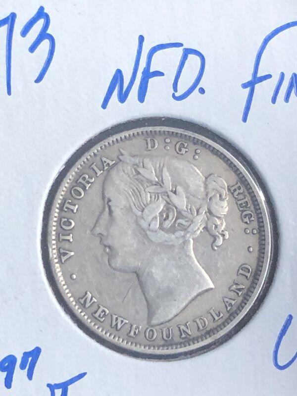 Newfoundland Canada 1873 Twenty 20 Cents Queen Victoria Silver Coin Low mintage