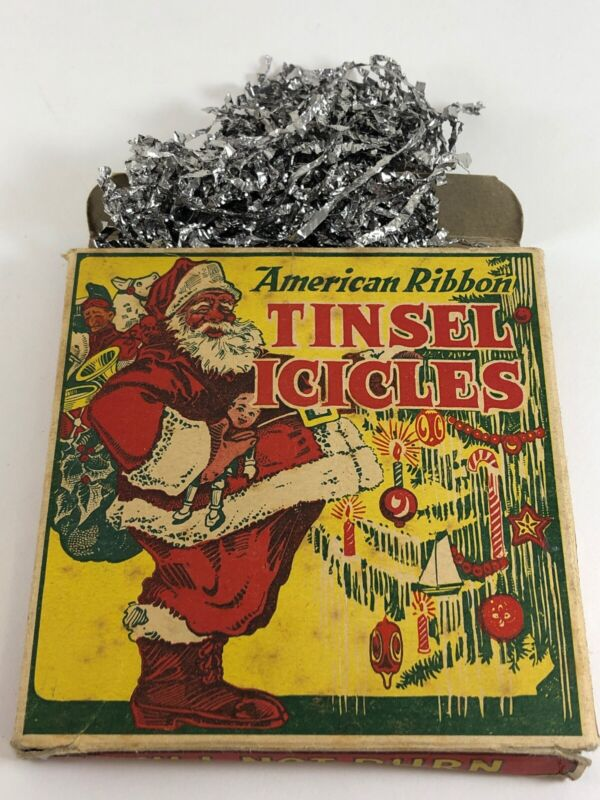 Vintage Tinsel Icicles RARE Fire Proof Christmas Tree Decoration American Ribbon
