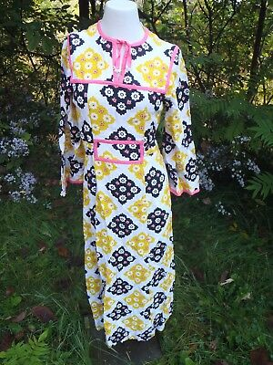 VINTAGE 1960's color Pop flower power hippie boho bark cloth maxi dress m