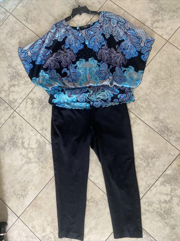 Women's Pls Sz Outfit: 0X Top; 14/16W Pants; NWOT Jewelry Set. EUC! W7
