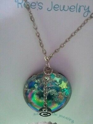 Cabochon Glass Glitter Sky, Moon & Star Handmade Pendant Necklace. Silver Chain