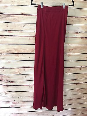 (Hand Woven In  MOROCCO Very Long Red SKIRT Elastic Waist Size 3/4 Small Kaven)