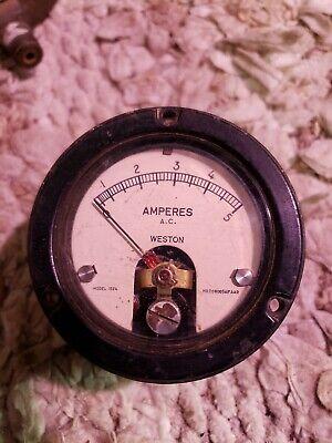 Vintage Weston Amperes Ac Panel Meter. Model 1524