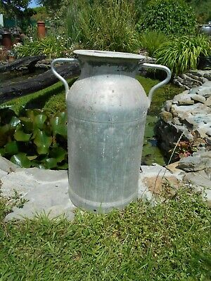 Vintage French aluminium milk churn with lid stamped DUCEY