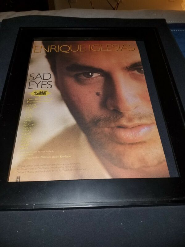 Enrique Iglesias Sad Eyes Rare Original Radio Promo Poster Ad Framed!