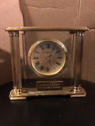 Howard Miller 613627 Athens Mantle Tabletop Clock Solid Brass Beveled Glass Nice