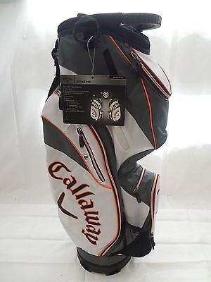 New Callaway Xtreme Cart Golf Bag White Charcoal Orange 14 way top