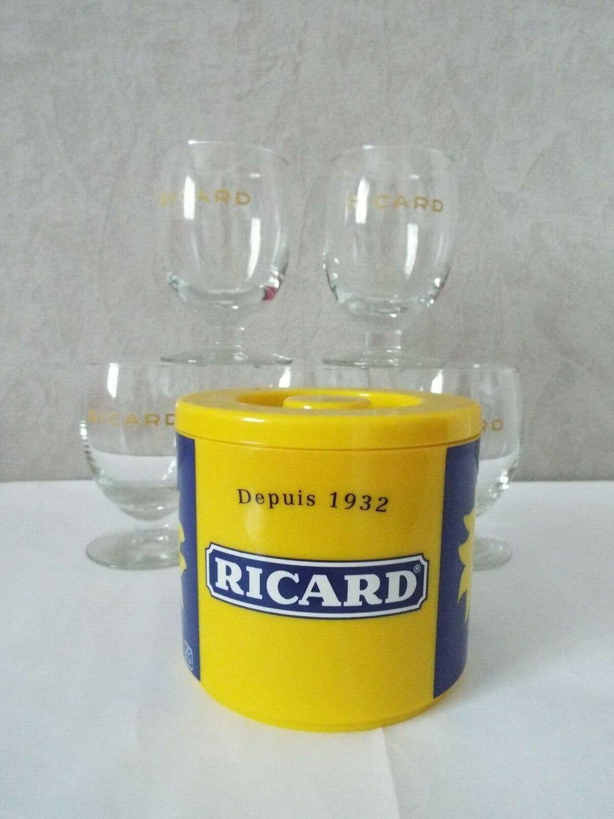 verres ricard 17 cl écriture jaune sans trait dose et un seau  à glaçons ricard