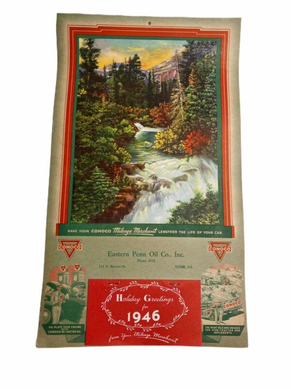 Vintage 1946 Calendar Eastern Penn. Oil Co. Inc. Conoco Holiday Greetings