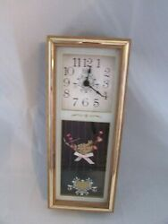 Vtg Elgin 1970s Retro Shadowbox Wall Clock Country Dried Floral Work Works Fine