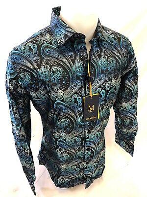 Mens MANZINI Button Down Dress Shirt TEAL BLUE SLIM FIT PAISLEY FRENCH CUFF (Button Cuff Button Down Dress Shirt)