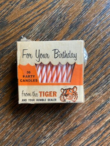 Vintage Humble Advertising Tiger in Your Tank Birthday Candles.