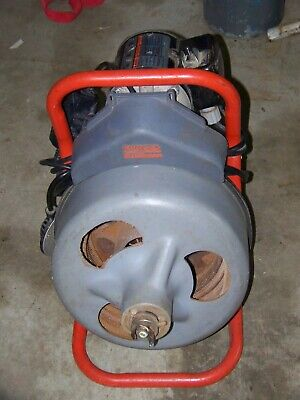 Ridgid K-375 Drain Cleaning Machine With 2 New Spare 75 Cables Box Of Heads