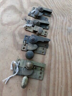 Vintage OLD Antique Brass Sash Window Latch Catch Lock Closer