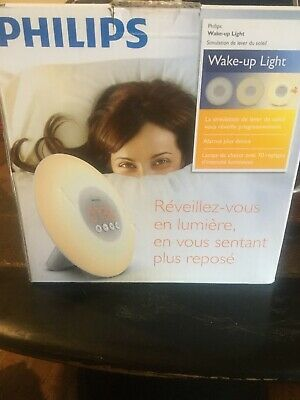 NEW Philips Sleep WAKE-UP LIGHT Sunrise Simulation Alarm Clock White HF3500/60