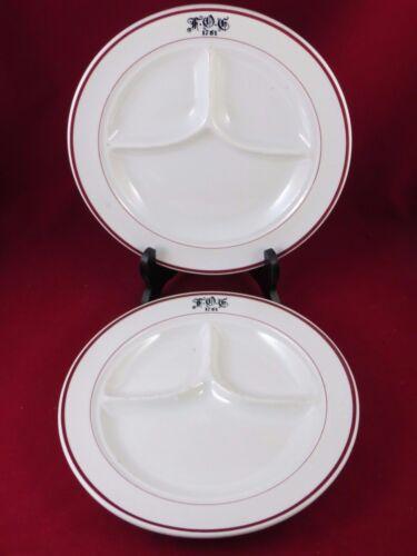 "FOE  FRATERNAL ORDER OF EAGLES.Jackson  Restaurant Set of 2 Divided Plates 10"""