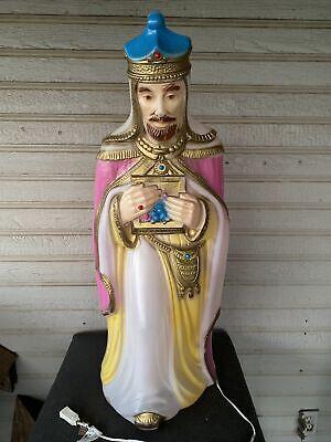 "Vintage General Foam Christmas Nativity Pink Wise Man Blow Mold Yard Decor 35"""