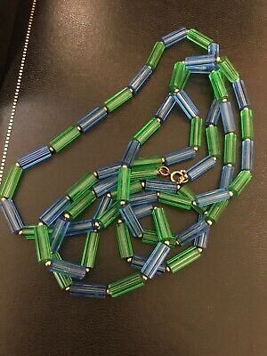 60s -70s Jewelry – Necklaces, Earrings, Rings, Bracelets 1960's Necklace Flapper Lucite Green Blue Aqua Gold Tone Spacers Groovy Plastic $9.98 AT vintagedancer.com