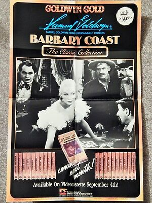 BARBARY COAST (VIDEO DEALER 24 X 16 POSTER!, 1980S) EDWARD G ROBINSON CLASSIC