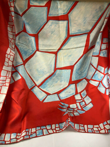 Vintage Pauline Trigere Silk Turtle Scarf, Blue red and white