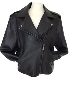 Iris & Ink Butter Soft Leather Biker Jacket 14/16 New