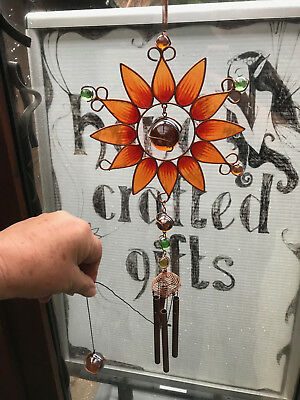 BN Bright Amber Moon Flower Stained Glass Copper Wind Chimes - Lovely Gift - Flowers Stained Glass Wind Chimes