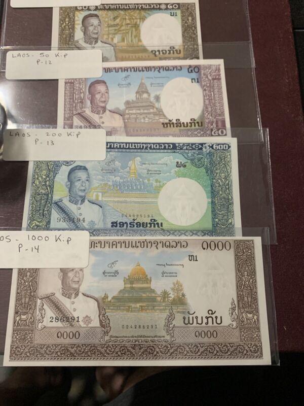 Laos 1000  200  50 20 Kip, ND (1963), P-14 (13 12 11 UNC