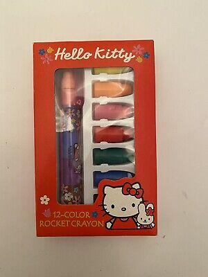 Hello Kitty Sanrio 12 Colour Rocket Crayon Pen 2000 Unused Box Red Vtg Rare