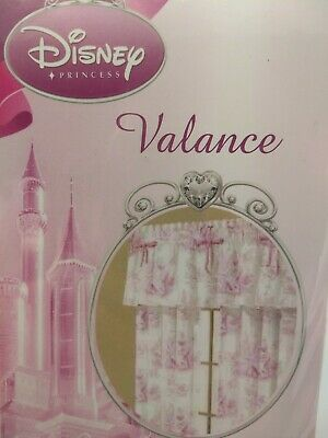 Disney Princess Window Valance Pink White Toile Cinderella Sleeping Beauty - Disney Princess Window Valance