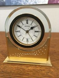 Retired Seiko QHE047GLH Swarovski Crystal Bedside Desk Or Table Alarm Clock