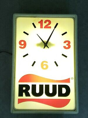 "WORKING LARGE 21""x14"" VINTAGE RUUD LIGHTED ADVERTISING CLOCK HVAC HARDWARE STORE"