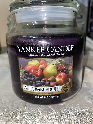 """Yankee Candle Retired """"AUTUMN FRUIT"""" Fruit~ 14.5 oz ~WHITE LABEL~ RARE ~"""