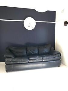 Black Leather Sofa Lounge Waratah Newcastle Area Preview