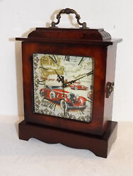 Table Clock Wood Classic Car Watch Nostalgia Mahogany Vintage Antique 20,5 25