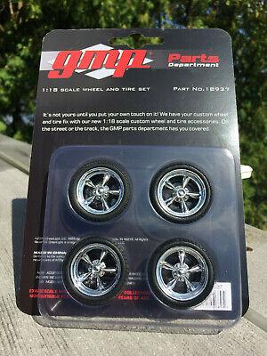 1:18 GMP ACME Custom Chrome Muscle Car 5 Spoke Wheel And Tire Part Set 18937
