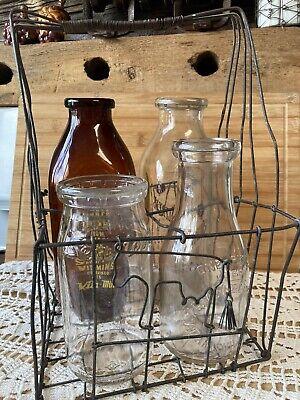 Vintage Rustic Wire Milk Carrier Holds 4 Quart Size Bottles Includes 2Q 2P
