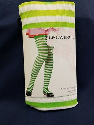 Green And White Striped Tights (Striped Green And White Tights Enchanted Costumes Size Large (7-10))