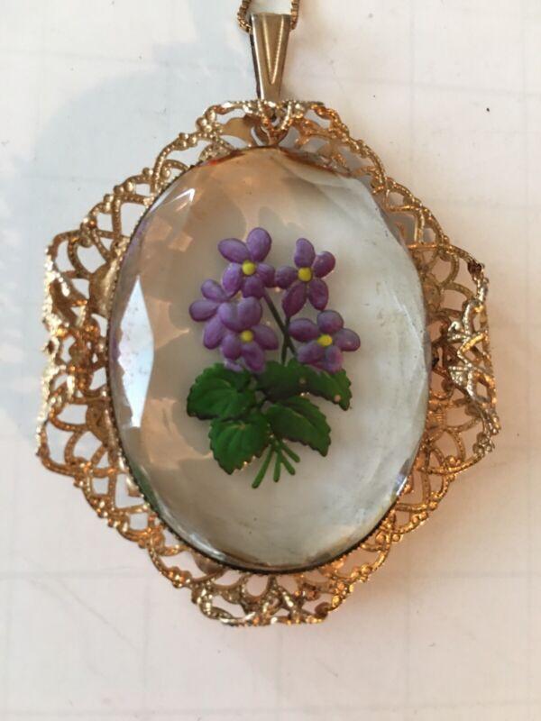 Vintage Glass Cabochon Lavender Flower Cameo  GoldTone Frame Necklace 925